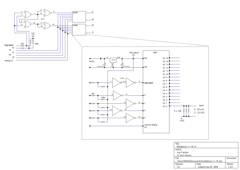 Pls Plc Controlled Analog Multiplexer Demultiplexer Schematic Logic Diagram 2 X 16 Ch
